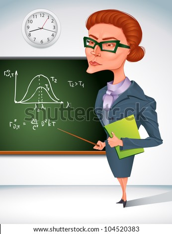 bitchy teacher in glasses is  holding pointer in her hand