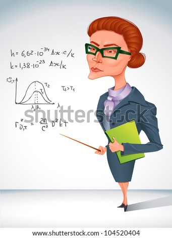 bitchy teacher in glasses is  holding pointer in her hand - stock vector