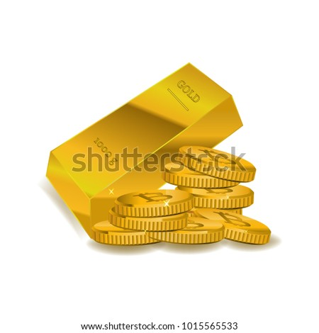 Bitcoin and Gold bar on the white background.  Vector illustration