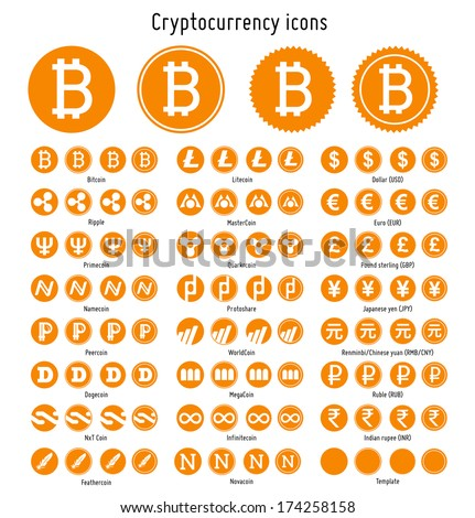 Bitcoin and other cryptocurrency vector symbols web icons  templates - stock vector