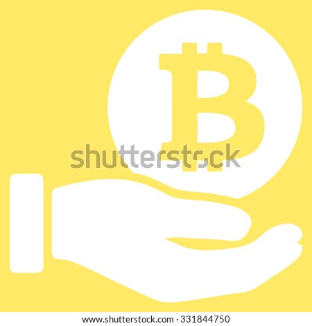 Bitcoin Coin Payment vector icon. Style is flat white symbol, rounded angles, yellow background. - stock vector