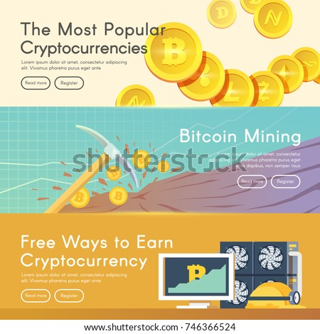 Bitcoin Digital Money Cryptocurrency System And Mining Pool Flat Modern Vector Web Banners Set