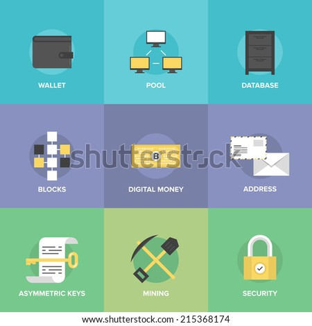 Bitcoin digital money, cryptocurrency system and mining pool, web security software technology and virtual currency management. Flat design icons set modern vector illustration concept. - stock vector