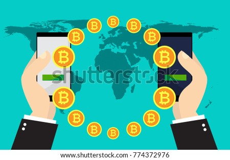 Bitcoin Exchange And Transfer Hand Holds Smart Phone With Send Bitcoins Into Mobile On