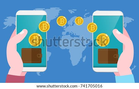 Bitcoin Exchange And Transfer Hand Holds Smart Phone With Send Bitcoins Into Mobile On Worlds