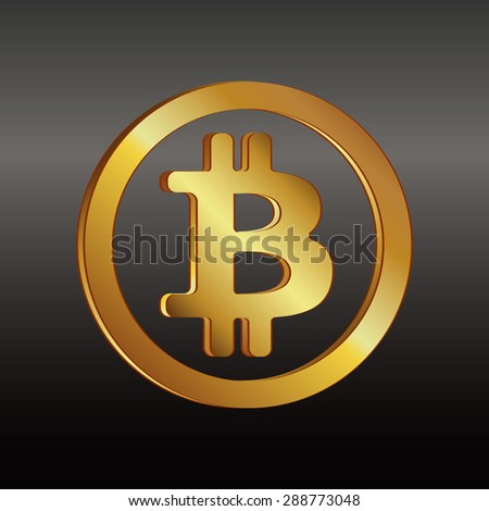 Bitcoin golden icon in a circle on a black and gray background. Vector illustration icon in a circle on a black and gray background. Vector illustration