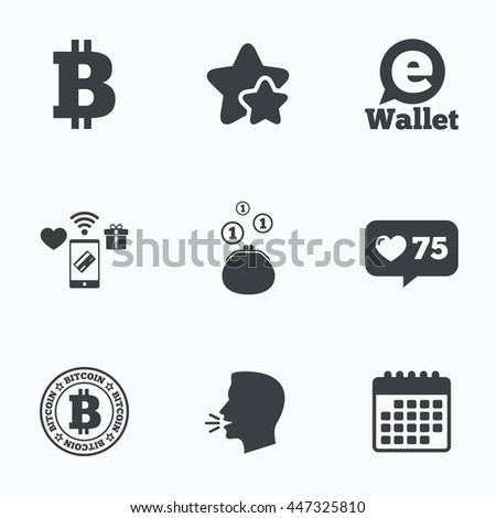 Bitcoin icons. Electronic wallet sign. Cash money symbol. Flat talking head, calendar icons. Stars, like counter icons. Vector - stock vector