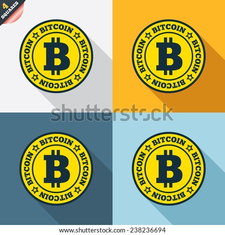 Bitcoin sign icon. Cryptography currency symbol. P2P. Four squares. Colored Flat design buttons. Vector - stock vector