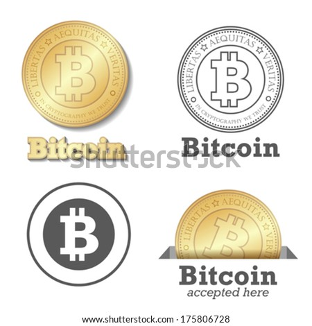Bitcoin vector design elements set. Bit-coin payment collection. Gold coin - digital payments worldwide. - stock vector