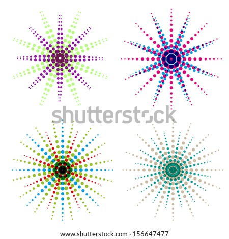 Bitmap polka dotted colorful stars abstract background