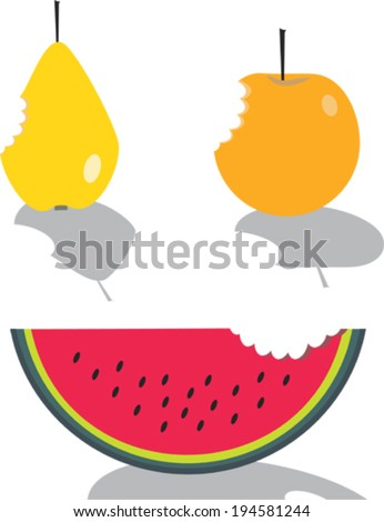Bitten apple, pear and  slices of watermelon - stock vector