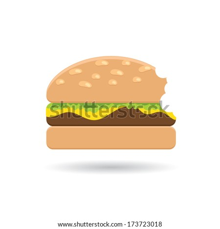 Bitten Hamburger icon. Fast food concept - stock vector