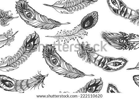 bizarre feather, seamless  background - stock vector