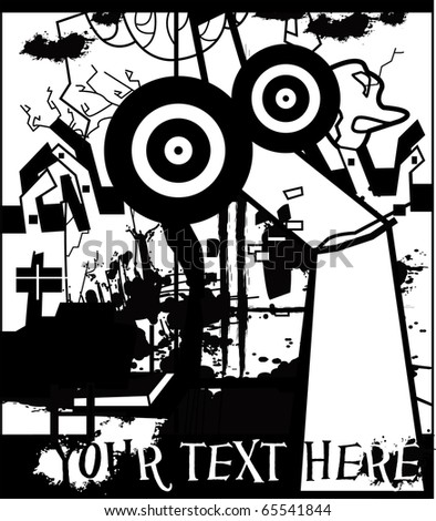 bizarre illustration with city scene, person and buildings, grunge  music background for text - stock vector