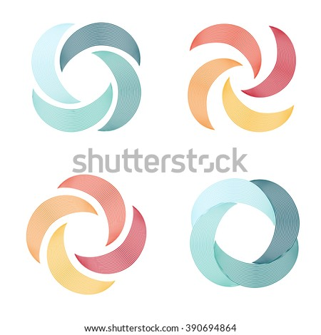 Bizarre vector logo in the shape of a boomerang in a linear style. Rotating propeller screws. Isolated abstract vector logo. - stock vector