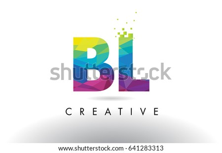 Bl B L Colorful Letter Design Stock Vector 641283313 Shutterstock