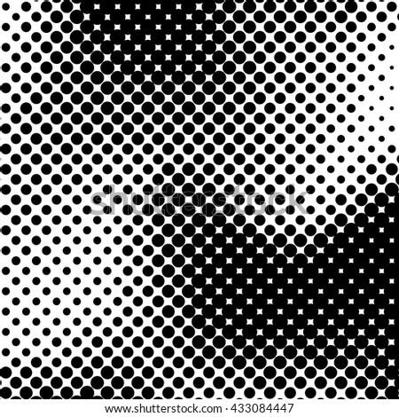 Black abstract background with black and white halftone texture, dotwork, circles pattern for design concepts, banners, posters, wallpapers, web, presentations and prints. Vector illustration.