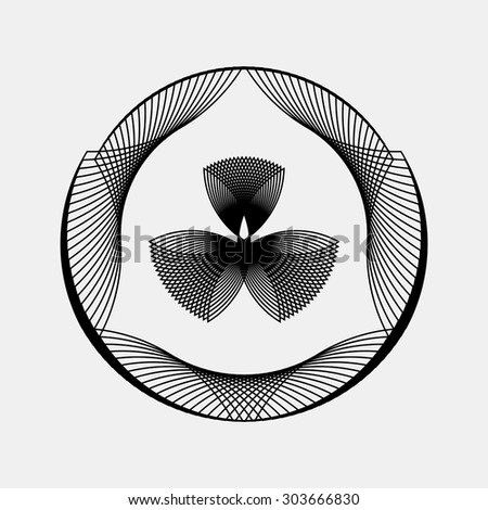 Black abstract fractal shape with light background for logo, design concepts, posters, banners, web, presentations and prints. Vector illustration. - stock vector