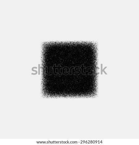 Black abstract geometric shape, square badge with film grain, noise, dotwork, grunge texture and light background for logo, design concepts, posters, banners, web and prints. Vector illustration. - stock vector