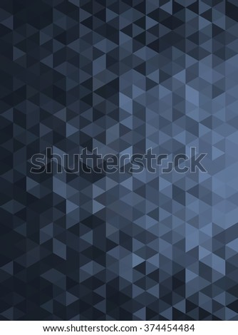 Black Abstract Geometric Triangle Vertical Background - Vector Illustration Abstract Polygon Vector Pattern - Portrait Orientation  - stock vector