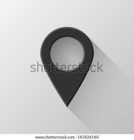 Black abstract gps map pointer, blank button template with flat designed shadow and light background for web user interfaces (UI), applications (apps) and business presentations. Vector illustration. - stock vector