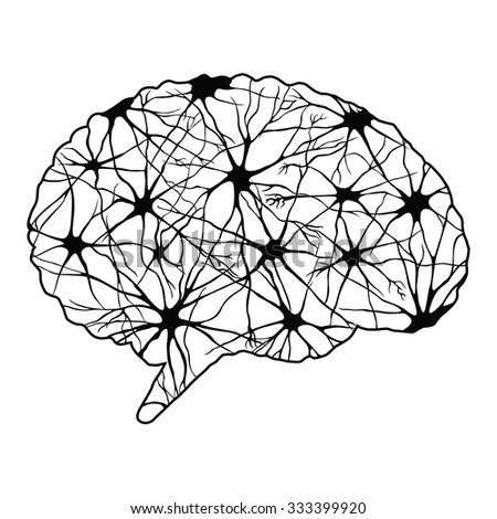 Black abstract human brain - stock vector
