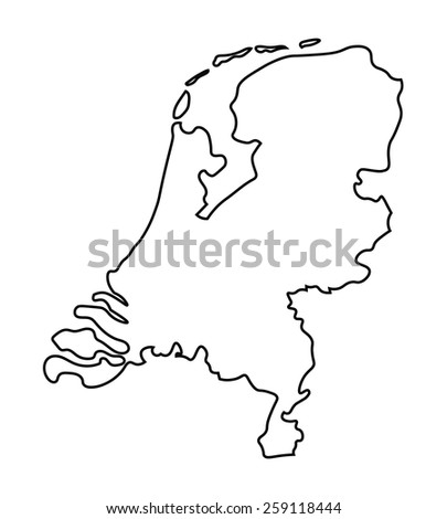 black abstract map of Netherlands map - stock vector