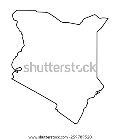 black abstract outline of Kenya map - stock vector