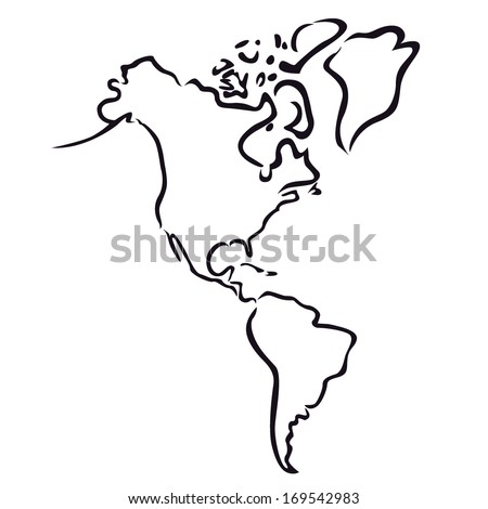 Black Abstract Outline North South America Stock Vector - North and south america map