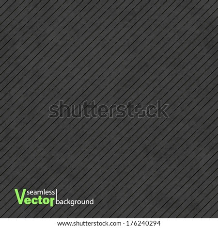 Black abstract vector background with subtle delicate grunge texture, striped seamless pattern of plastered wall, linen embossed surface in shades of dark gray color - stock vector