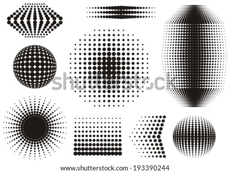 Black abstract vector halftone design elements collection - stock vector