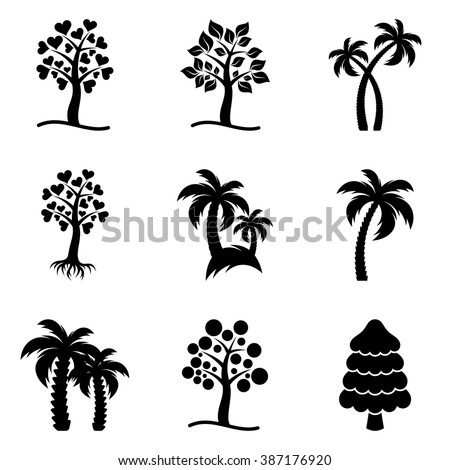 Black abstract vector tree icons collection isolated - stock vector