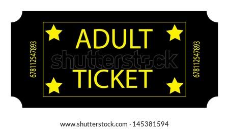 Black Adult Ticket. Vector. - stock vector
