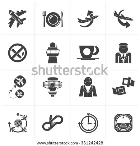 Black Aircraft, airport and Plane Icons - vector icon set - stock vector