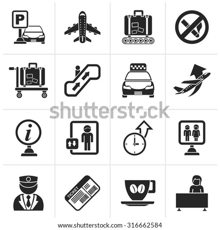 Black Airport and transportation icons - vector icon set - stock vector
