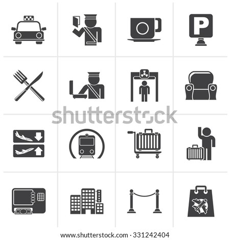 Black Airport, travel and transportation icons -  vector icon set 1 - stock vector