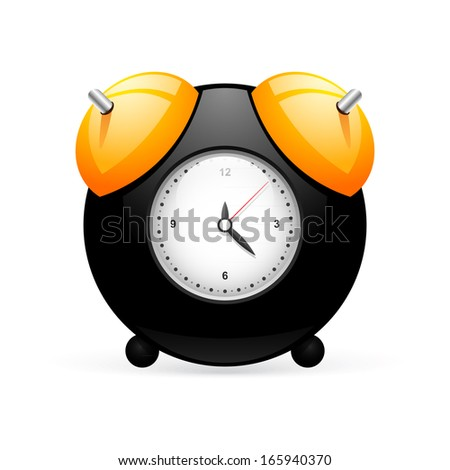 Black alarm clock isolated on white.