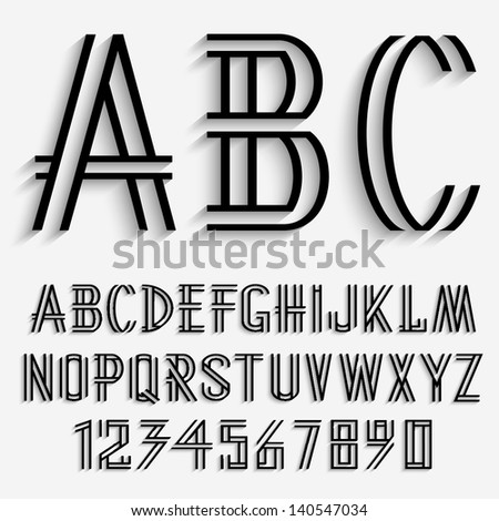 Black alphabet letters and numbers with shadow. Vector set - stock vector