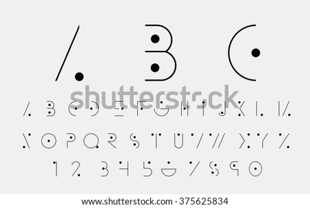 Black alphabetic fonts and numbers with black points. Vector eps10 illustrator.