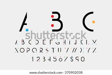 Black alphabetic fonts and numbers with color points. Vector eps10 illustrator. - stock vector