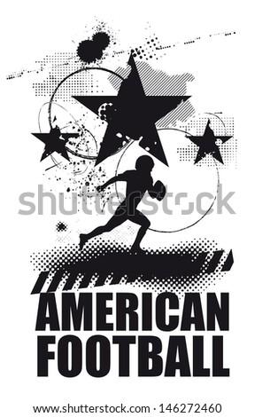 black american football scene - stock vector