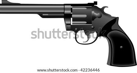 Black ancient pistol a revolver vector - stock vector