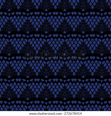 Black and blue lace seamless stripes pattern. Vector illustration.