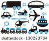 Black and blue means of transport icons. Easy to change color - stock photo