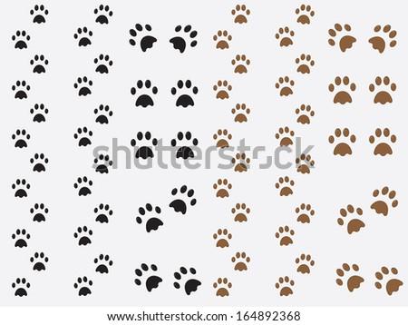 Black and brown dog prints illustration - stock vector