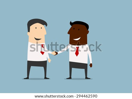 Black and caucasian businessmen shaking hands and congratulating each other with successful dea. Cartoon flat design - stock vector