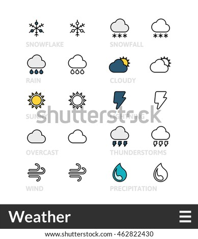 Black and color outline icons, slim line pictograms- Weather symbol collection