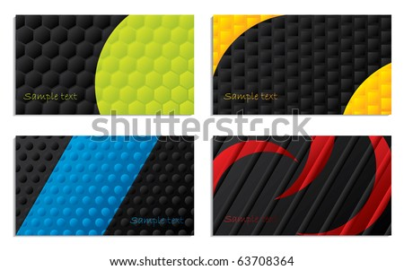 Black and colored business cards - stock vector