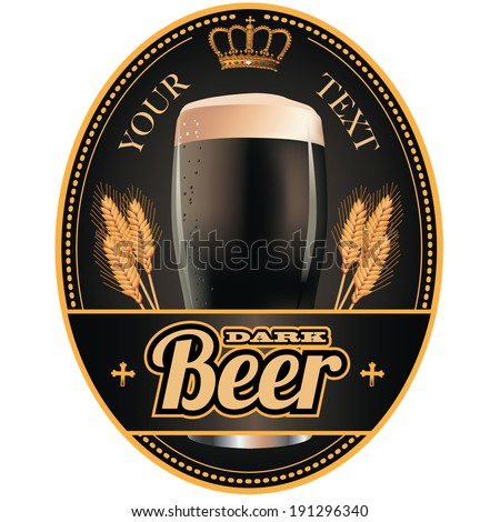 Black and gold beer label design. EPS 10 vector, grouped for easy editing. No open shapes or paths. - stock vector