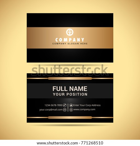 Black gold business card vector stock vector 771268510 shutterstock black and gold business card vector reheart Images